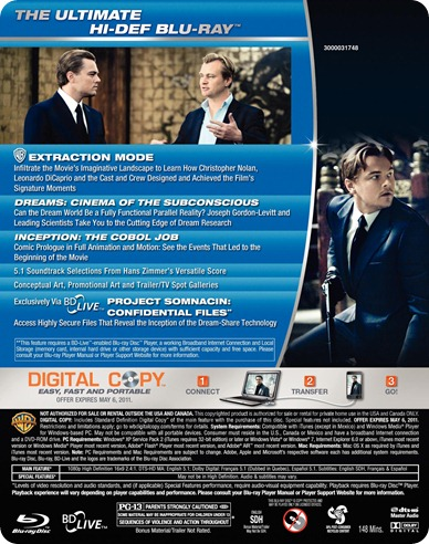 Inception Blu-ray back cover art