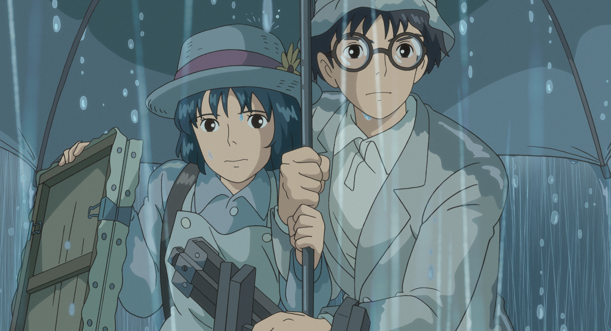 Jiro and Naoko in the Rain, promotional image from https://worldofentertainment.info/2014/03/09/pauls-review-of-the-wind-rises-2013/
