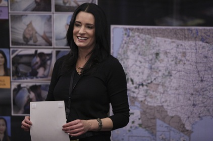 """Tribute"" -- When former BAU team member and current Interpol agent Emily Prentiss tracks an international serial killer, she enlists the help of her friends at the BAU after she is convinced the UnSub's next victim is on American soil, on CRIMINAL MINDS, Wednesday, March 30 (9:00-10:00 PM, ET/PT) on the CBS Television Network. Pictured: Paget Brewster returns to guest star in the episode as Emily Prentiss. Photo: Cliff Lipson/CBS ©2016 CBS Broadcasting, Inc. All Rights Reserved"